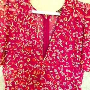 Spring flowery print,airy mini dress by:Forever 21